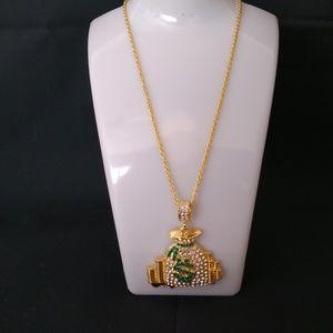 Other - Gold Tone Bling Dollar Symbol Money Bag
